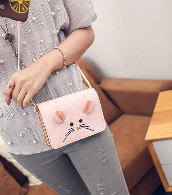 7617f3ae4399 Купить Оптом Горизонтальная Сумка Для Телефона Fashion Cute Mouse Mouse  Girl Girl Сотовый Телефон Pocket Change Packet Конверт Качества Женская  Сумка ...