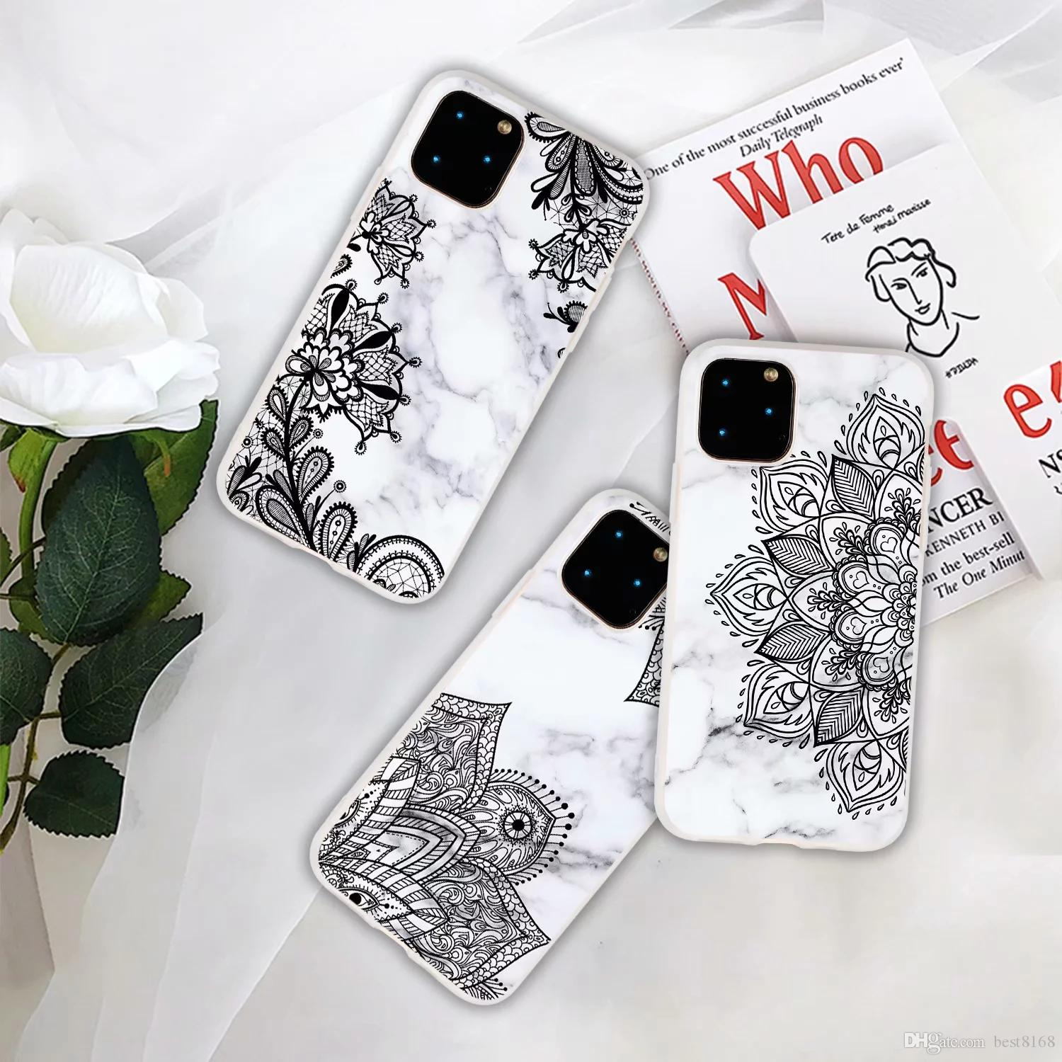 Granite Soft TPU IMD Case For Samsung Note 10 Pro A60 M40 A80 A90 M30 Lace Marble Flower Floral Style Gel Rock Stone Hybrid Hit Phone Cover