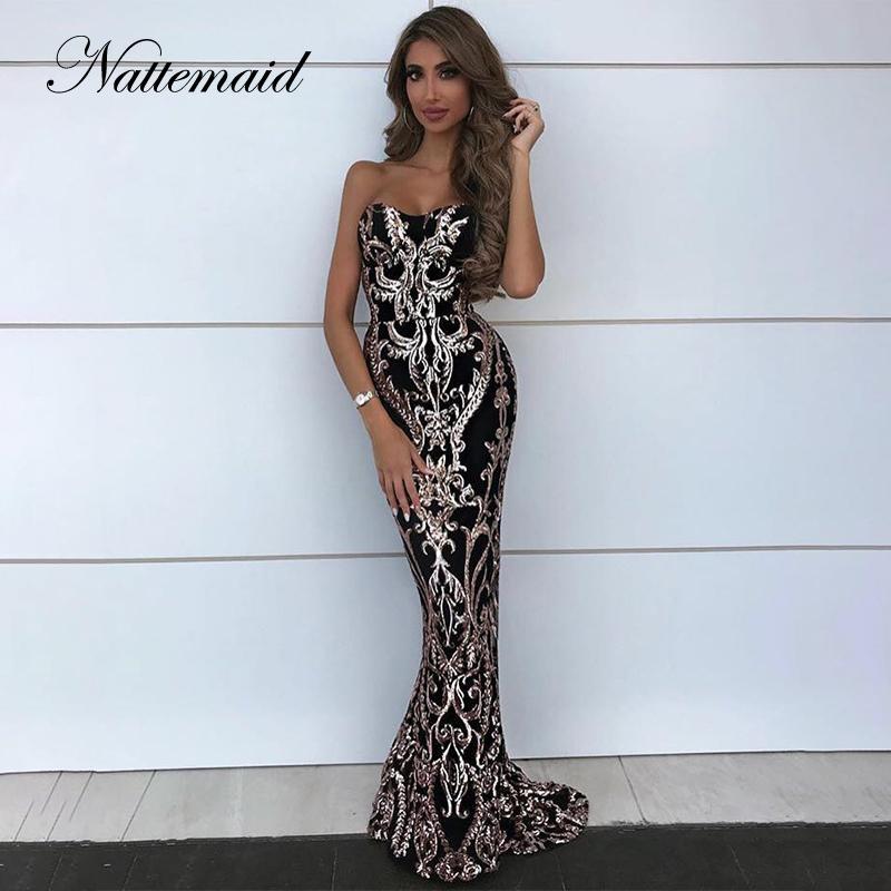 59d92b8ade NATTEMAID 2019 Summer Backless Bodycon Dress Women Strapless Long Maxi  Party Dresses Elegant Off Shoulder Sequin Dress Vestidos Flower Summer  Dresses Golden ...