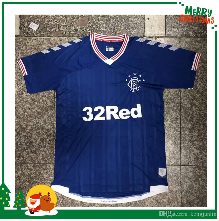 timeless design 4a154 e9f6e new Thai quality 2019 2020 Glasgow Rangers 19 20 Home Blue Soccer Jerseys  Rangers Football jersey soccer kit Shirts