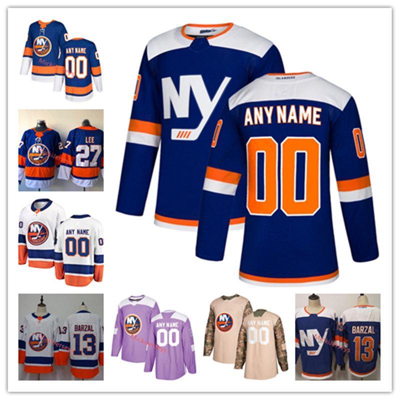 hot sale online 6394e 02b8f Custom New York Islanders Jersey Anders Lee Mathew Barzal Josh Bailey Cal  Clutterbuck Andrew Ladd Anthony Beauvillier Islanders Jersey