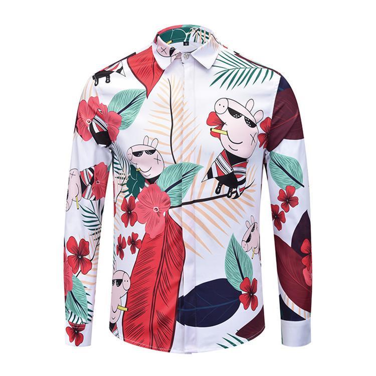 355b05d98b2a New Pattern Mens Printed Shirts Casual Slim Fit Man Long Sleeves ...