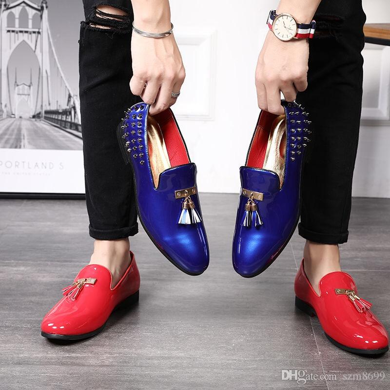 New men's autumn breathable British pointy shiny leather shoes young men rivets Korean hair stylist small shoes men's tide shoes