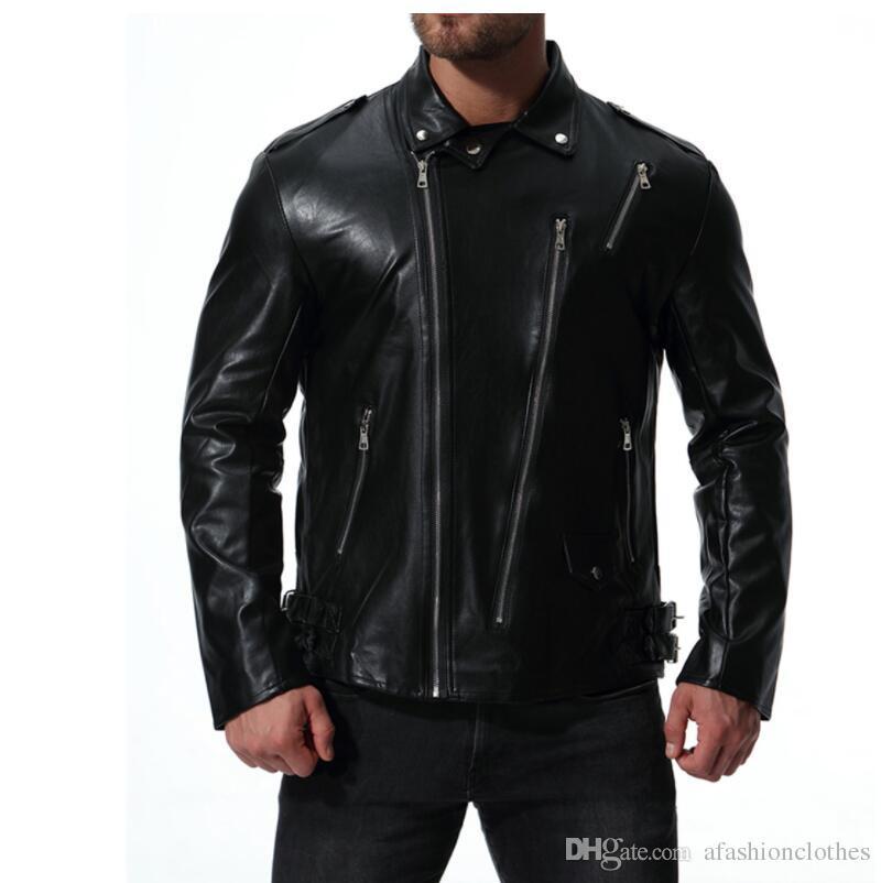 chaqueta de cuero para hombre chaqueta delgada de la chaqueta chaquetas Múltiples ropa con cremallera personalizada jaqueta de couro etapa street rock