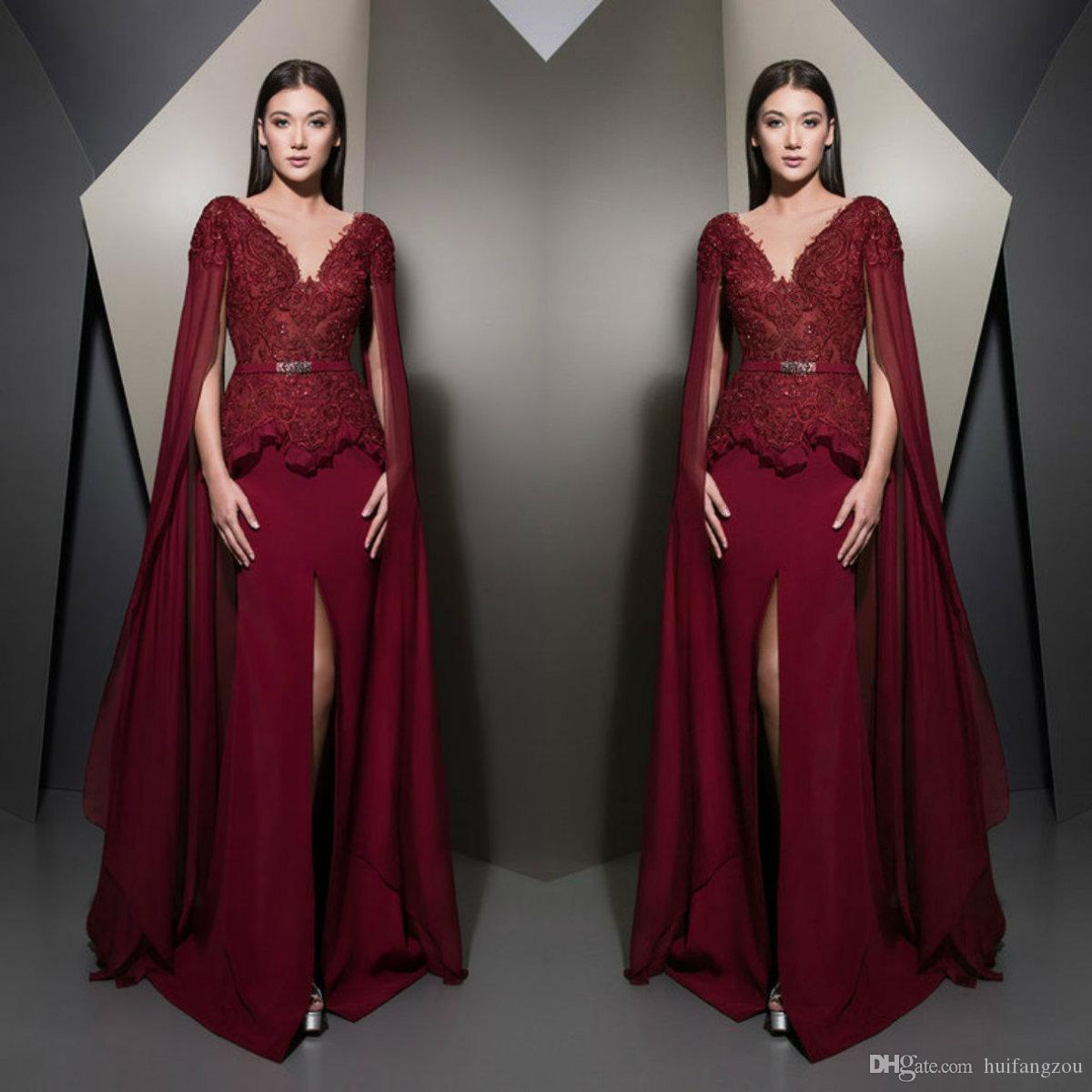 a2bc14539a4 2019 Burgundy Long Prom Dresses Ziad Nakad Cap Sleeve Lace Appliques Evening  Gowns Side Split Ruffles Women Formal Dress With Wraps Western Prom Dresses  ...