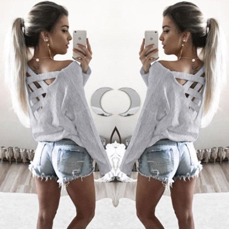 US Stock Hirigin Manica Cross Ladies O-Neck Colore solido Felpa Casual Felpa Lunga Donne Maglione Pullover in cotone T-shirt T-shirt