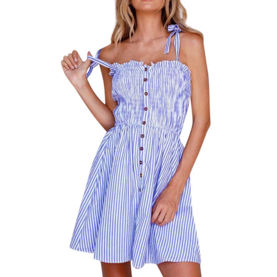 35b1951143 Compre Vestido De Rayas Verticales Azules De Las Mujeres Pajarita Sexy Sin  Mangas Yugo Volante Ajuste Botón Vestidos Camis Verano Vestido Casual  L A   27.33 ...