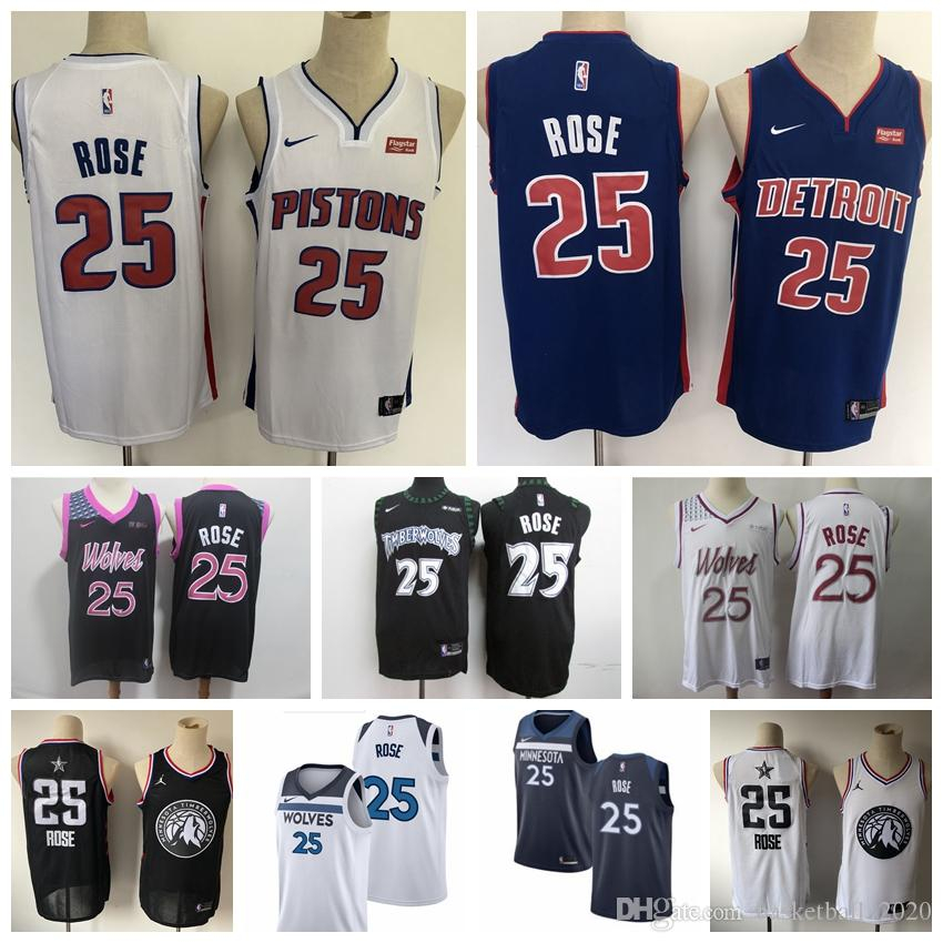 reputable site 6431d a9a99 2020 New Mens Timberwolves Pistons 25# Derrick Rose Swingman Jersey  Authentic Embroidery Detroit Derrick Rose Pistons Basketball Jersey