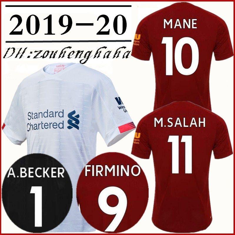 reputable site 74a6c 7b0c5 2019 2020 Mohamed Salah home away Soccer Jersey 19 20 MANE Tops VIRGIL  Football shirt KEITA FIRMINO ALISSON BECKER maillots de foot