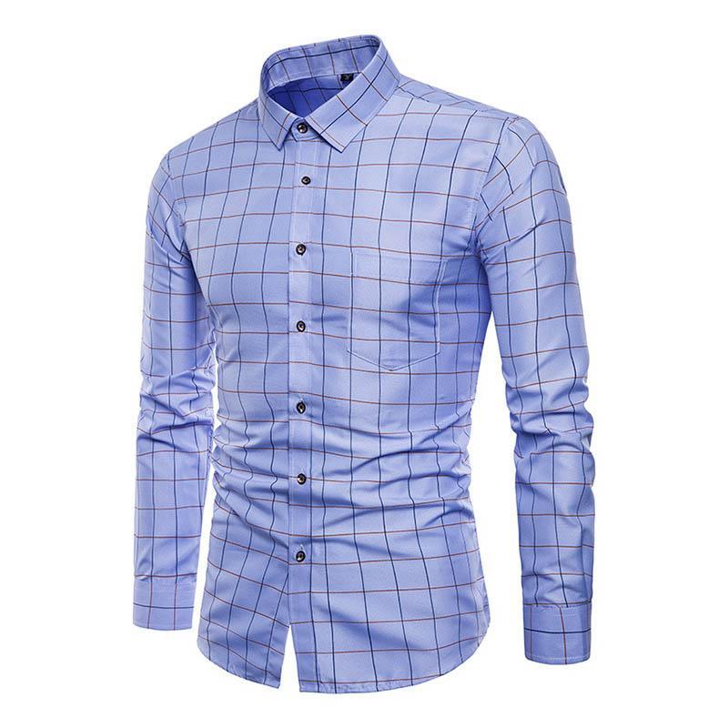 7ed8b2e06a1 Men s Shirt Lapel Long Sleeve Grid Slim Front Button Casual Cotton For  Business Party LT88 Casual Shirts Cheap Casual Shirts Men s Shirt Lapel Long  Sleeve ...
