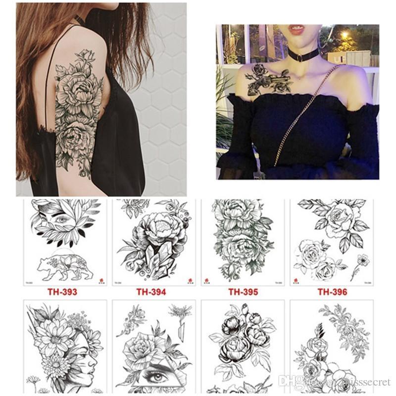 7ac896d38 2019 New Body Art Waterproof Temporary Tattoo Stickers Flower Design Fake  Tattoo Flash Tattoo Sticker Hand Foot Neck Makeup For Women Men Paper Tattoo  ...