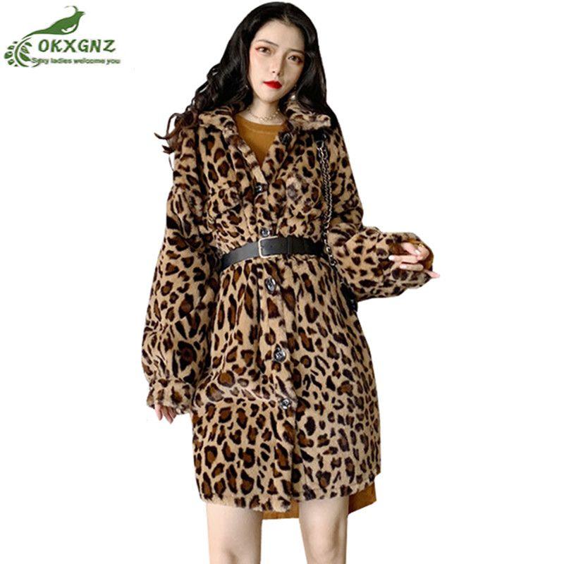 78e057d3d9df 2019 Hot Coats Women's Autumn Winter jacket New Retro Leopard Furry Lapel  Single Breasted Medium Long outwear parkas Warm coat