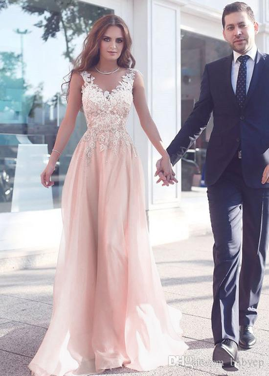 Elegant 2019 Baby Pink A-Line Lace Appliques Evening Dresses V-Neck Zipper Back Floor Length Cheap Prom Gowns Formal Dress