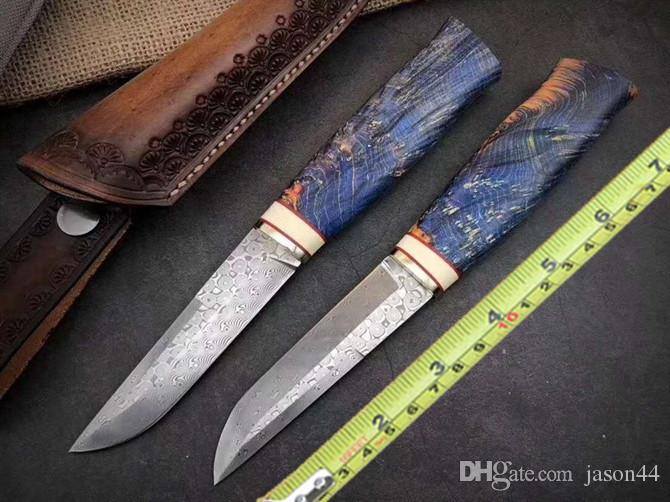 Fixed blade Tactical knife Rose pattern Damascus steel camping hunting knife man hunting season gift Cowhide sheath bowie knife