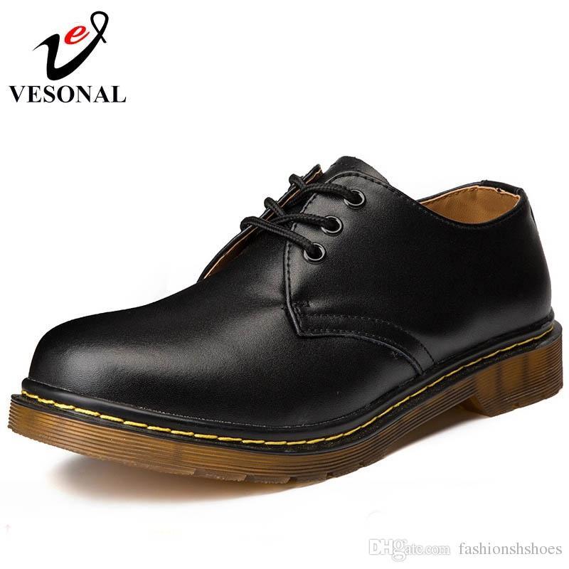da87ae2d8c3 Compre VESONAL Otoño Calidad De Cuero Genuino Suave Clásico Zapatillas De  Deporte Masculinas Para Hombres Zapatos Moda Casual Oxfords Calzado De  Trabajo ...