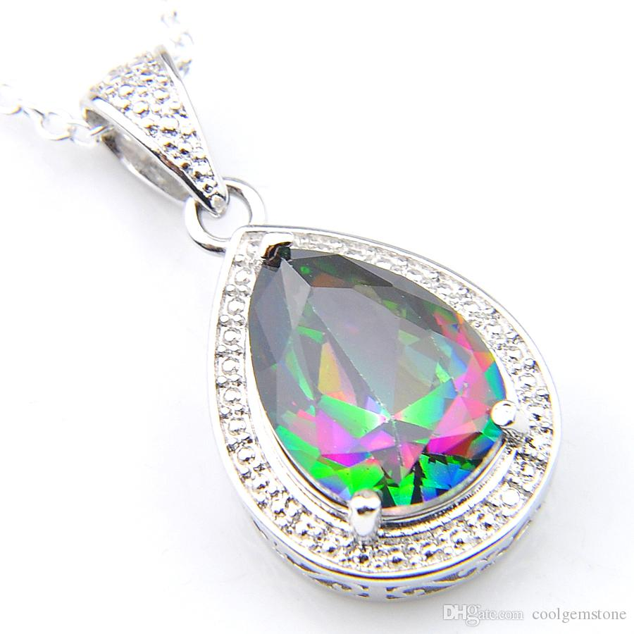 Luckyshine 12 piece/lot Women Fashion Jewelry 925 Sterling Silver Plated Mystic Colored Topaz Crystal Vintage Necklaces Pendants+Chain