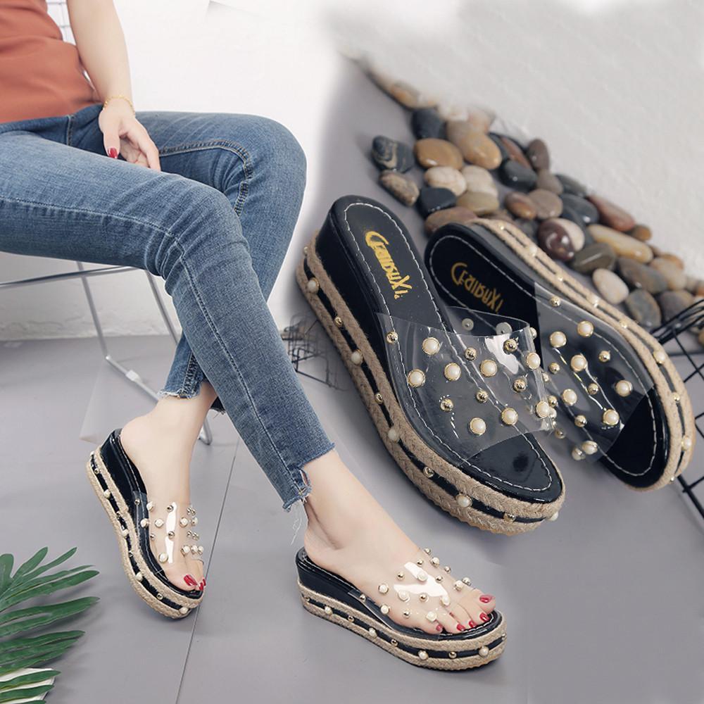 e7e1223466f Compre Perlas Plataformas Para Mujeres Chancletas Sandalias De Aumento En  La Altura Zapatos Antideslizantes Zapatos De Tacón De Verano Para Mujer  Zapatos ...