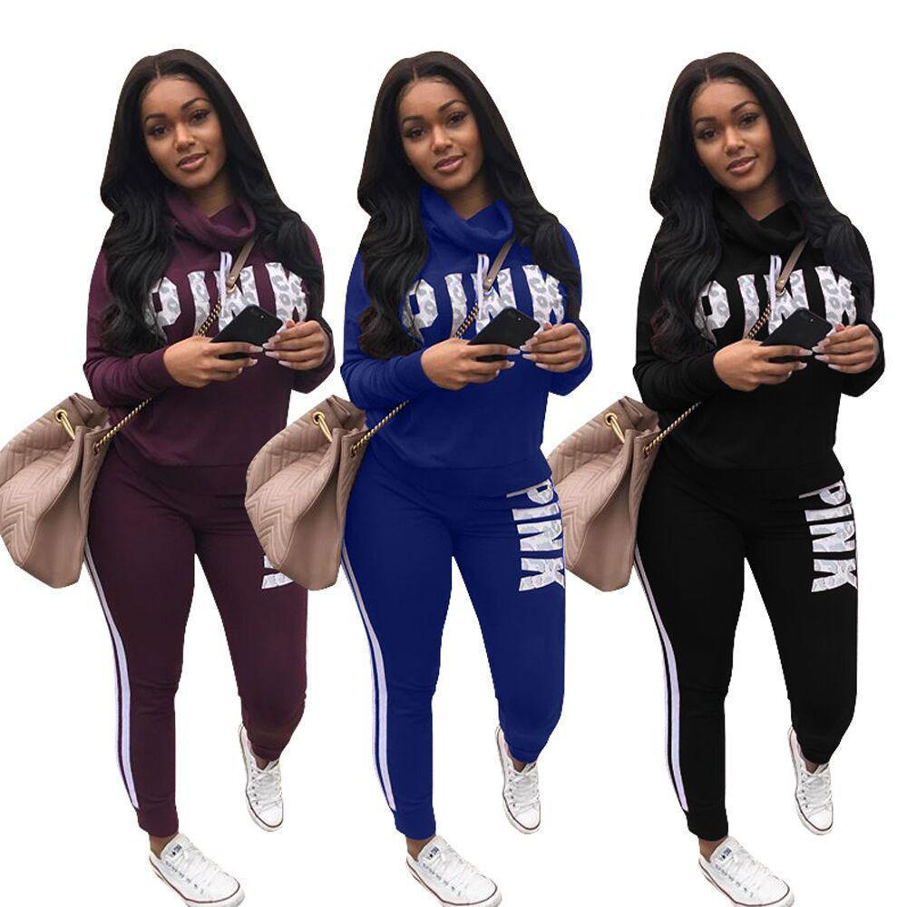 Wholetide Nice New Style Pure Color Letter Print Lady Sweat Suits Fashion Breathability Women 2 Piece Outfit Personality Women Tracksuit