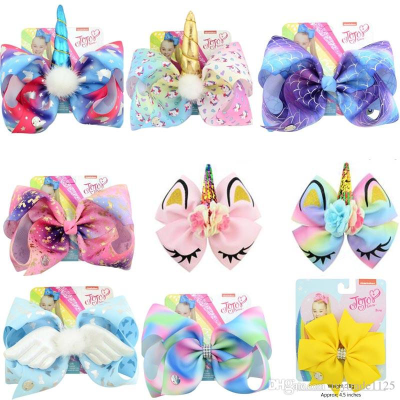 "8""JOJO Siwa Bow girl colorful Geometry print Bow unicorn Barrettes Girl girl Hairbands Girls Hair Unicorn party hair bows"