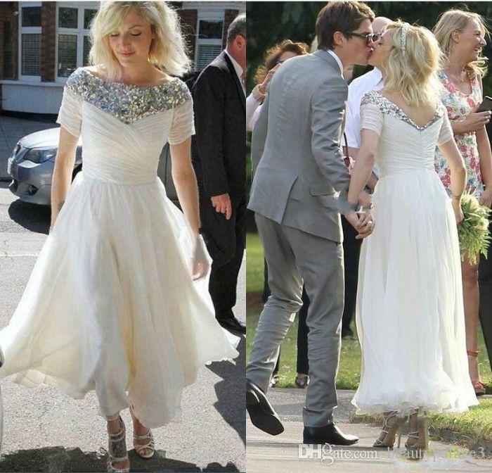 Chiffon Tea Length Short Wedding Dress