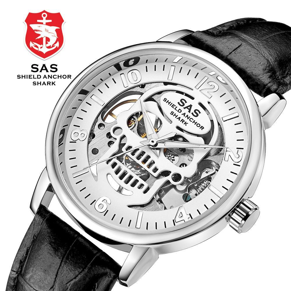 2ebf8f730936 Compre Skull Skeleton Reloj De Pulsera Mecánico Para Hombres Moda Hueco  Hacia Fuera Ver A Través De La Espalda Relojes Mecánicos Luminosos Reloj De  Cuero ...