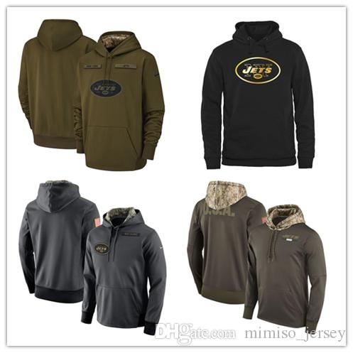 e2135b1ee 2018 2019 New York Fleece Jets Olive Salute To Service KO Performance  Football Hoodie Embroidered Patchwork From Mimiso jersey