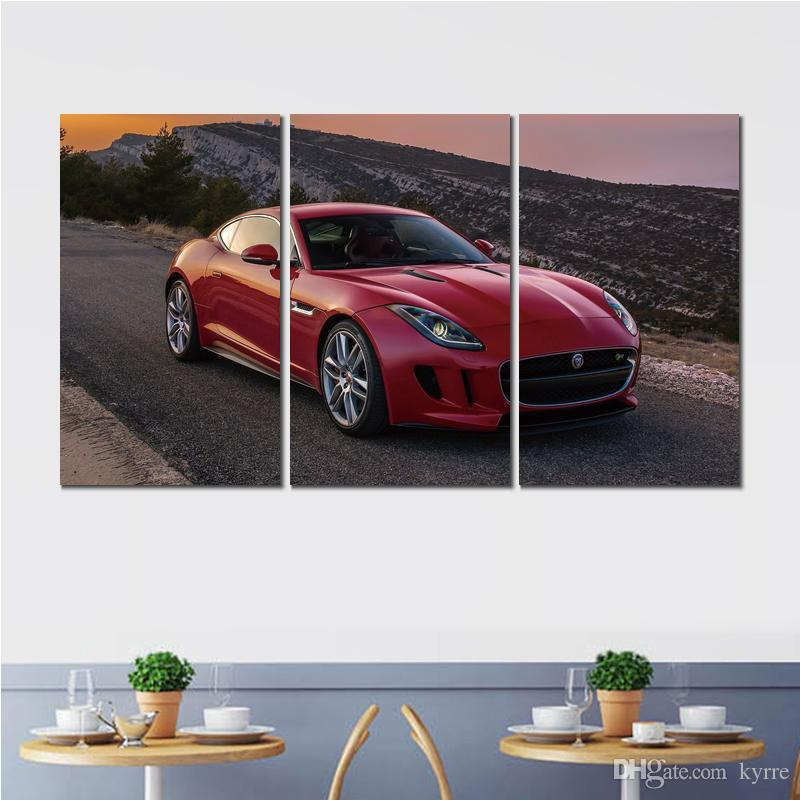 3 sets prints jaguar type red coupe canvas printed painting wall pictures For living room