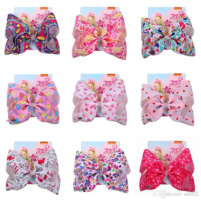 New Valentine Day Gift Barrette Jojo Siwa Hair Bows Accessories Candy Color Bowknot Hairpin Women Jewelry With Card 8inch 6jf Ww