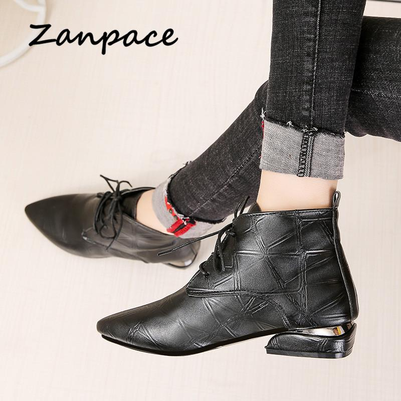 2c59828fbedb5 Zanpace Women Boots Fashion Ankle Boots For Women Pointed Toe Lace Up  Womens Shoes Low Heel Leather Casual Black Red Leather Boots For Women  Sporto Boots ...