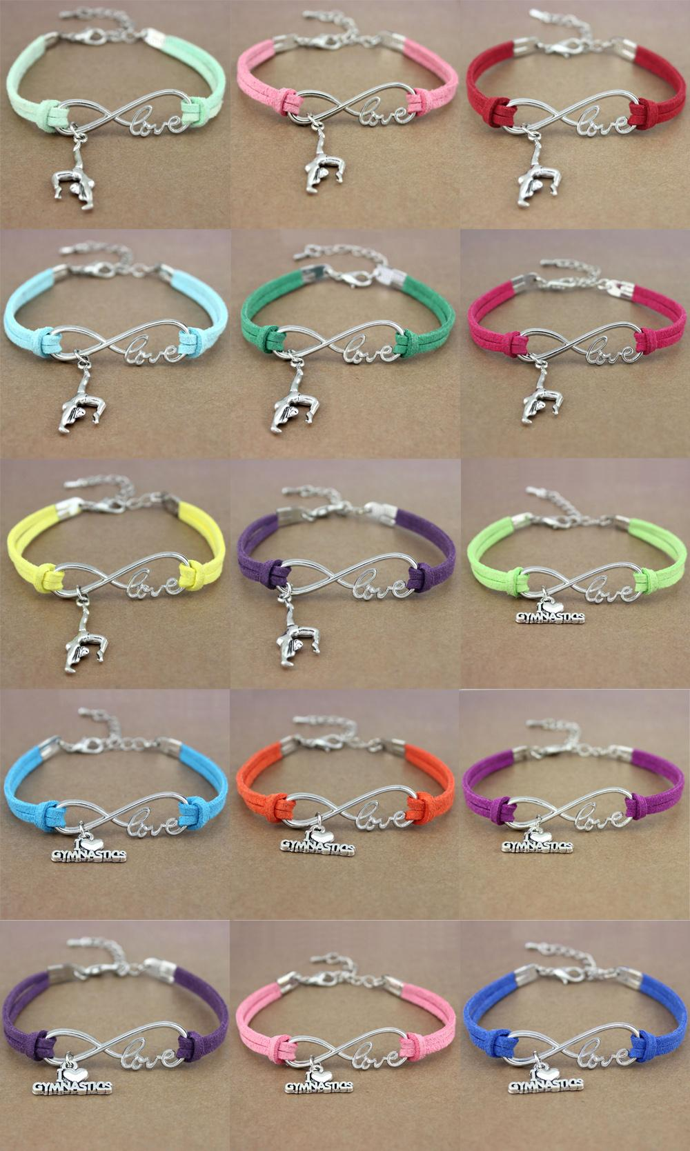 Ice Skate Shoe Skating Sports Gymnastics Infinity Love Charm Bracelets Women Men Girl Boy Unisex Jewelry to Choose