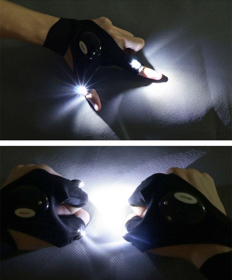 Reparación de automóviles dedo de guante Noche motocicleta del coche de la reparación de herramientas de trabajo Aire libre Pesca Guantes supervivencia de la herramienta creativa Senderismo de iluminación LED