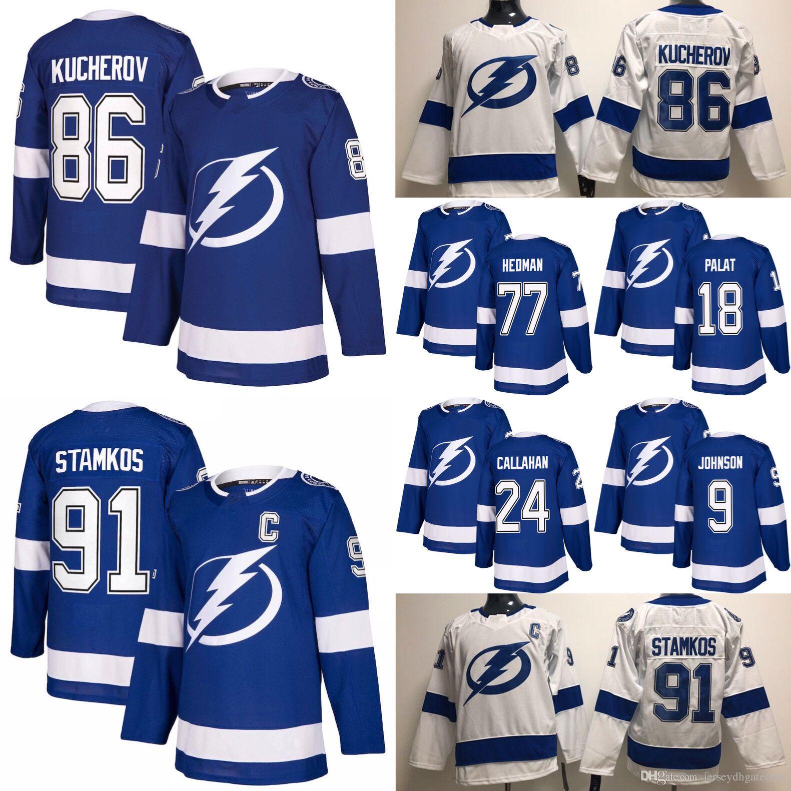 Tampa Bay Lightning Hockey Jerseys 91 Steven Stamkos 86 Nikita ... b23119997