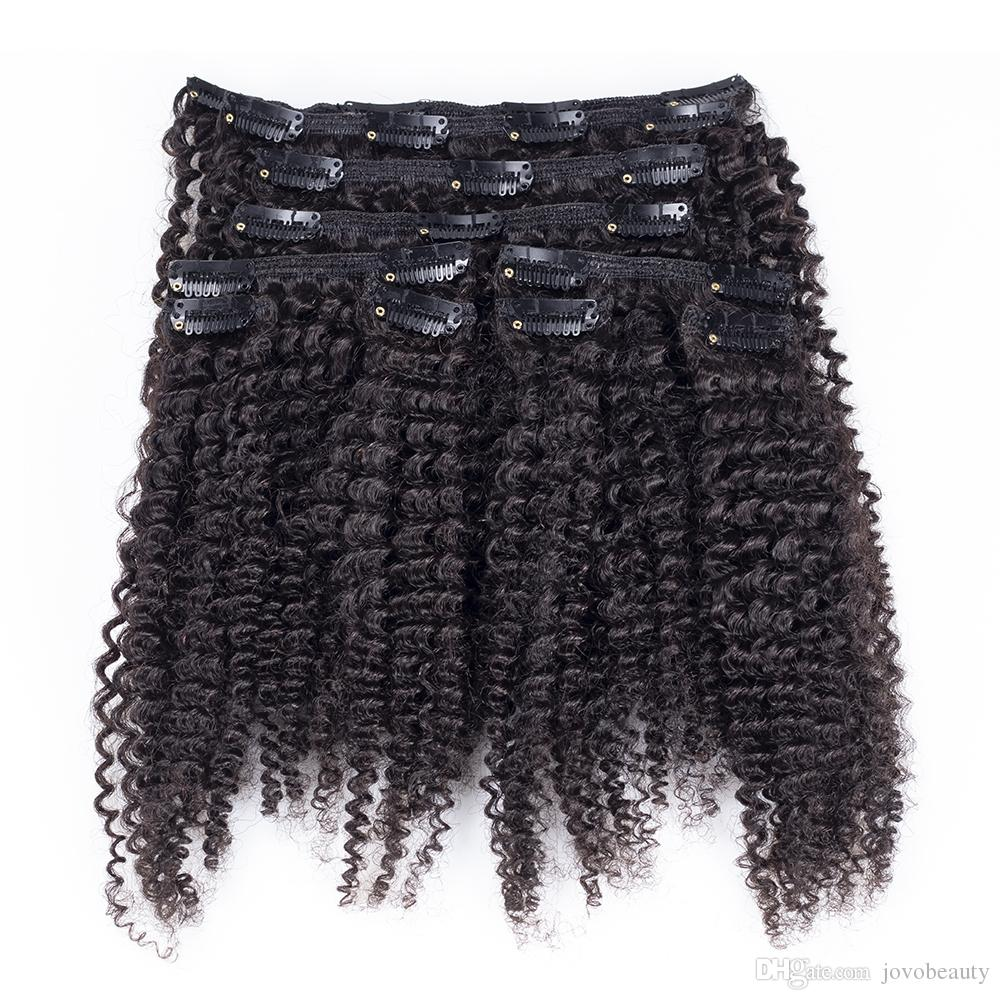 Peruvian Afro Kinky Curly 4A Clip In Hair Extension African American Human Natural Hair 100g 120g 140g 160g 4A Clip in Hair