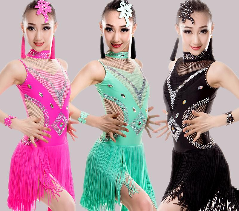 a3745b261e77d 2019 2019 Girls Tassels Latin Dance Competition Dress Kids Ballroom Tango  Salsa Fringe CostumesDress Child Dancewear Outfits From Yyliang, $97.34 |  DHgate.