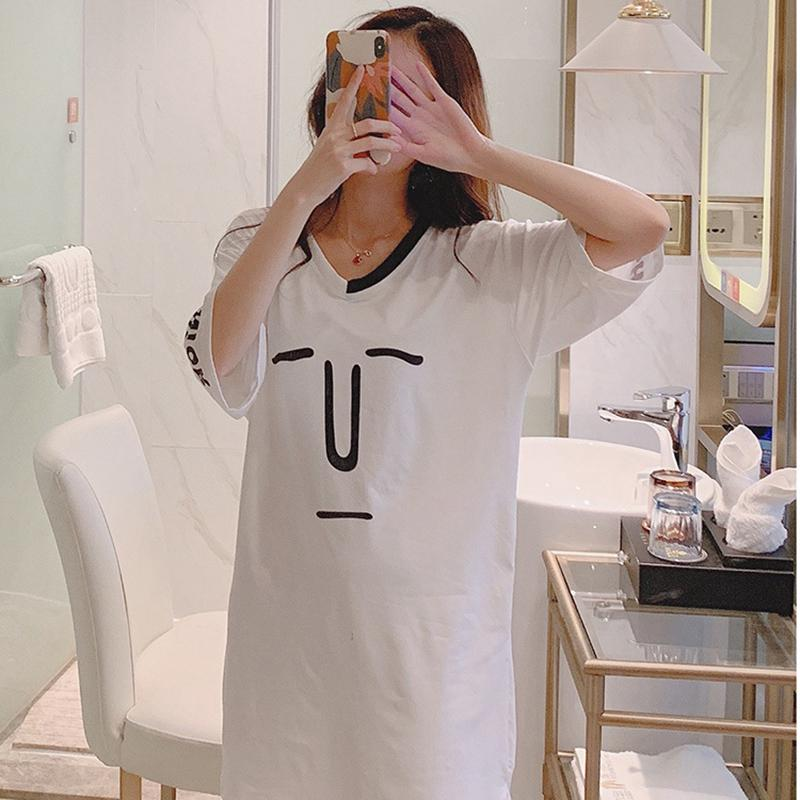2019 Sleeve V-neck Mid-length Solid Color Letter Girl T-shirt Nightdress Home Service