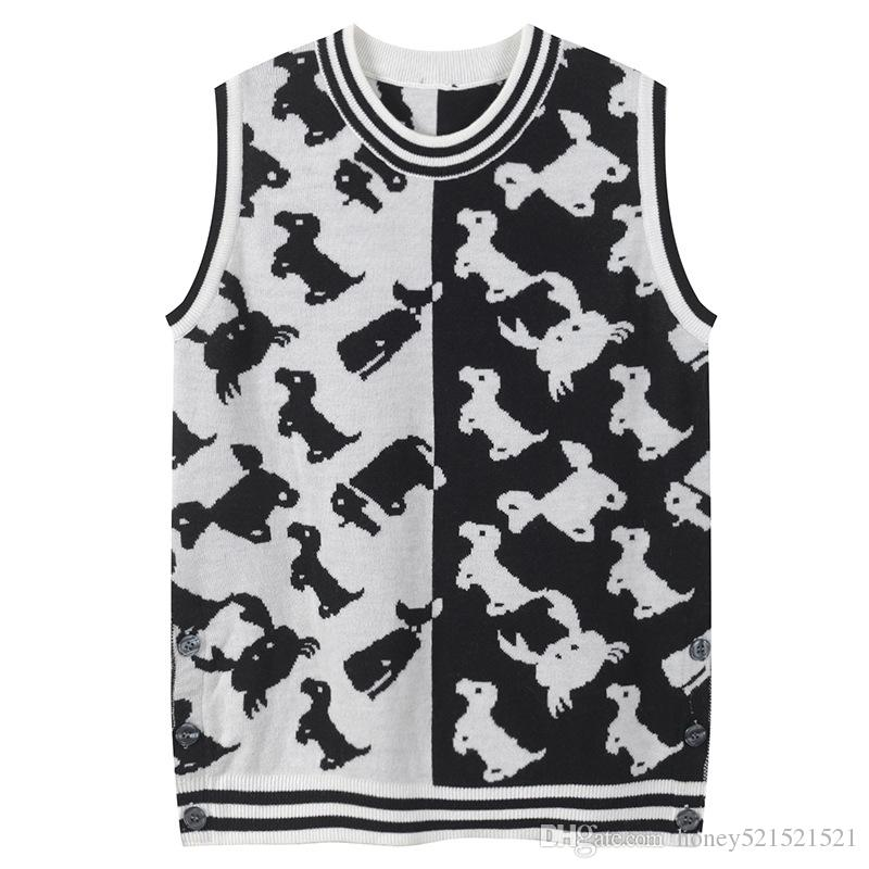 2019 New design women's o-neck sleeveless dog print black white color block tank top knitted sweater vest