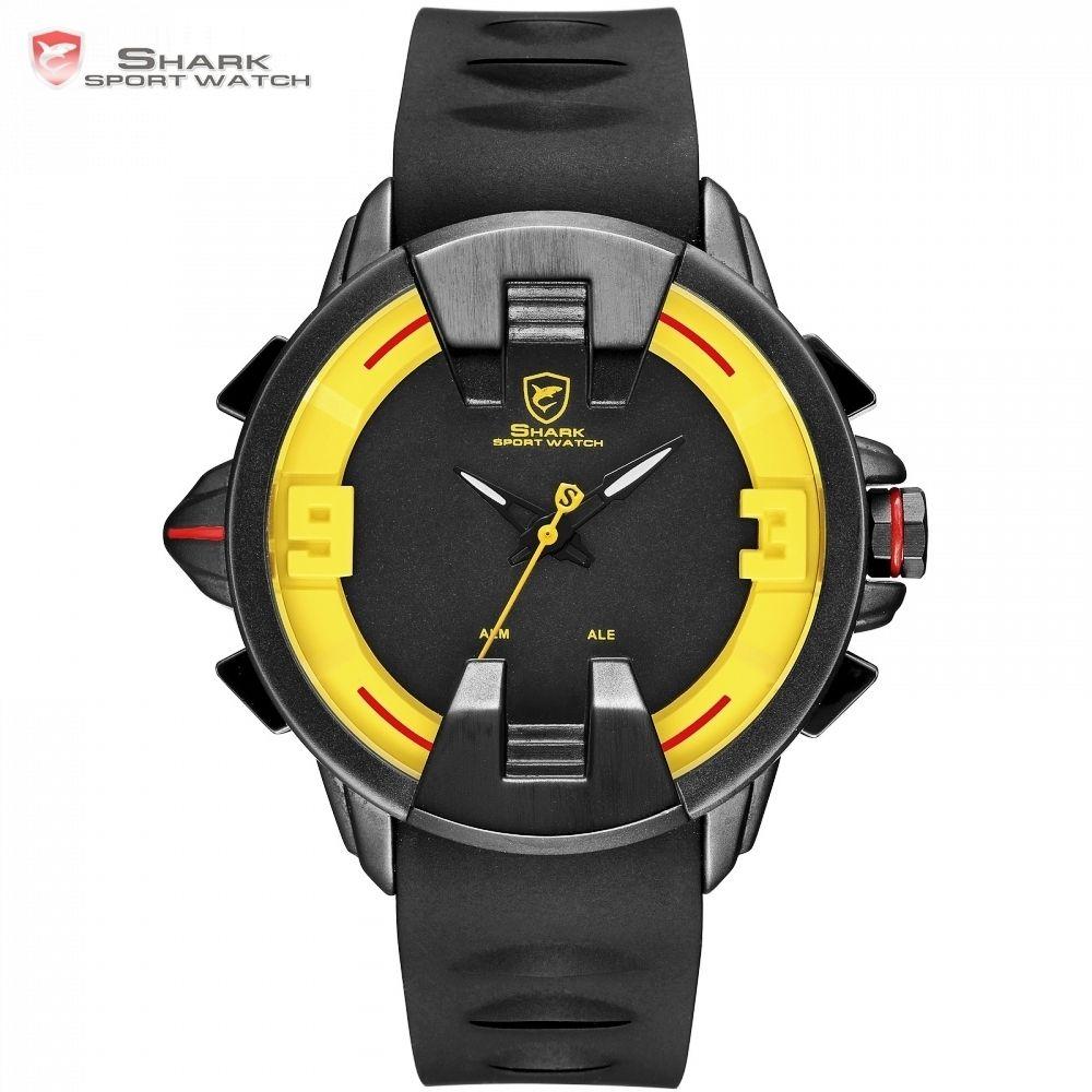 e801e665aaa Compre New Wobbegong Tubarão Marca Masculino Homens Relógios De Quartzo  Caso Preto Pulseira De Silicone Relogio Homens Hora Led Digital Sport Clock    Sh560 ...