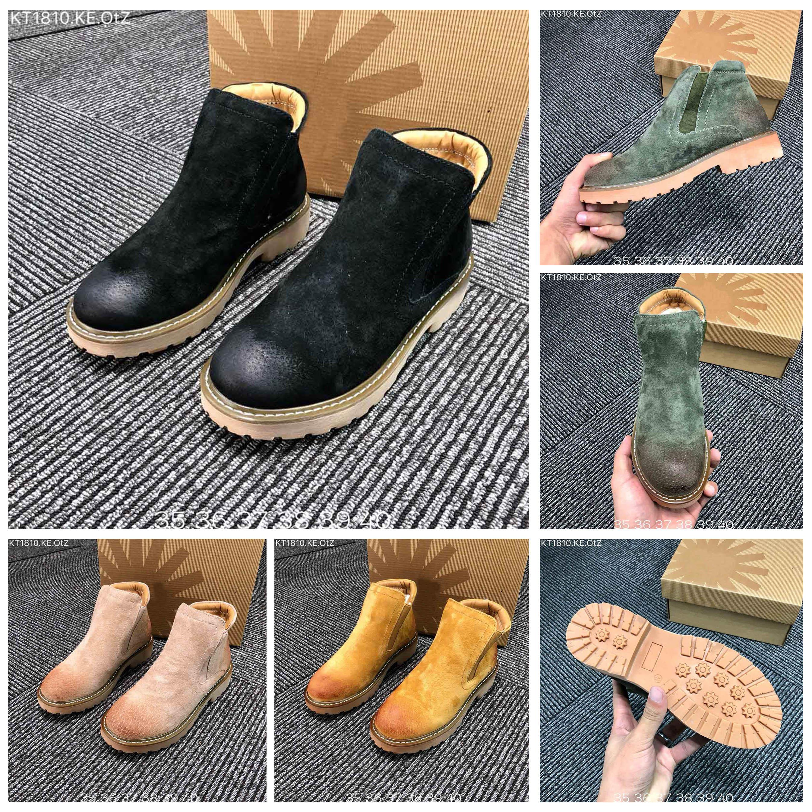 2019 Winter latest green tea color matching women boots, classic leather matte upper snow boots and velvet warm bottines boots