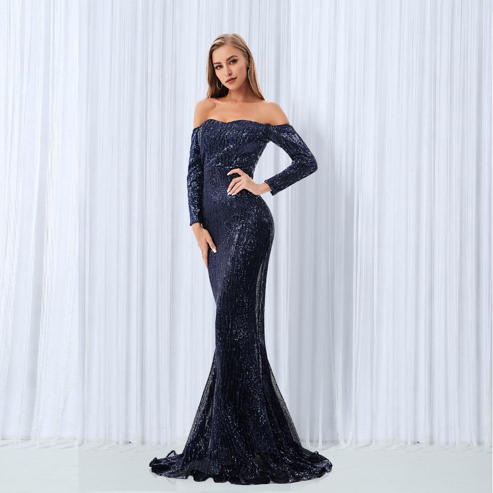 70cc5840f7632 Sexy Slash Neck Sequin Dresses Champagne Gold Navy Blue Sequined Maxi Dress  Floor Length Evening Party Dress Gown Q190423