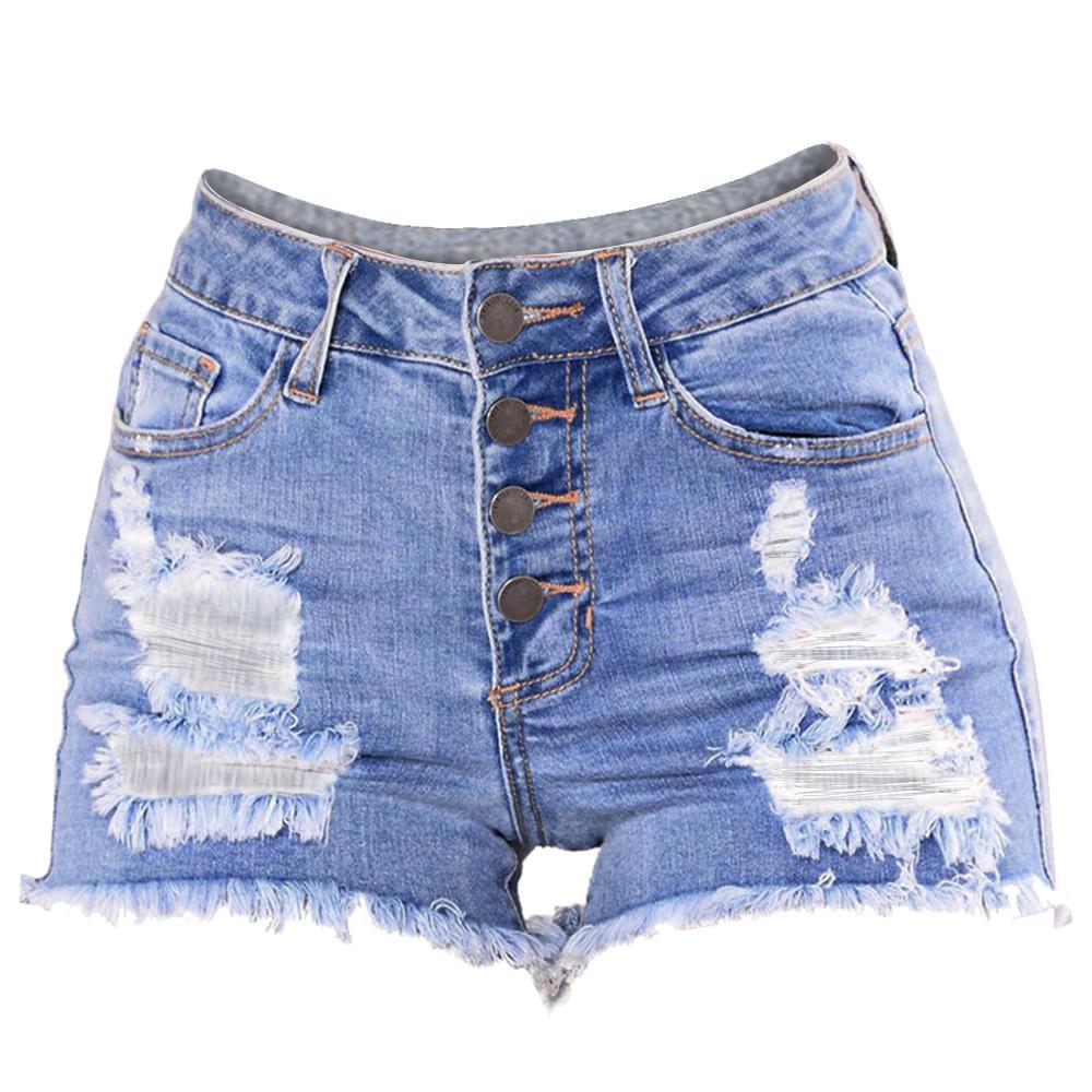 d2d15fae18c6 Mujeres Slim Washed Ripped Hole Short Mini Jeans Denim Pantalones cortos  Shorts