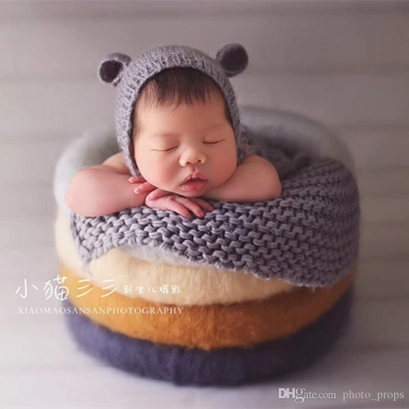 b60153f6635 2019 Teddy Bear Hat Photo Prop Knit Teddy Bear Bonnet Hand Knitted Hat Cup  Newborn Photography Props From Photo props
