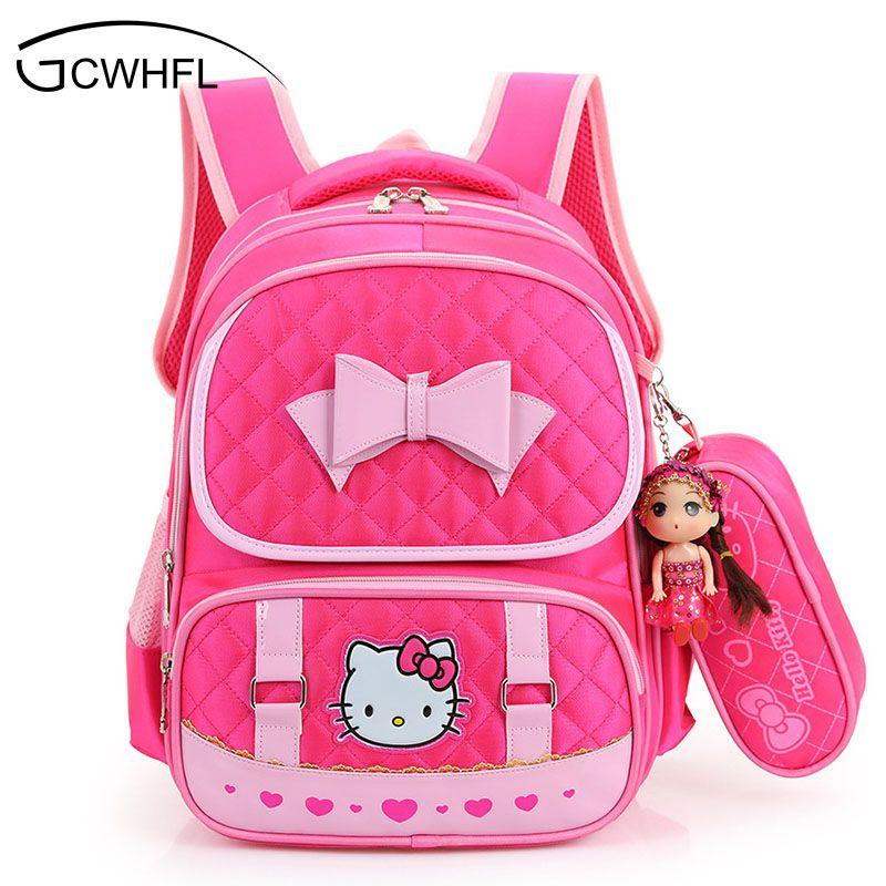 8740a34376f6 Hello Kitty School Backpacks For Children Nylon Girls Princess School Bag  Waterproof Kids Satchel Girl Schoolbag Mochila Escolar Y18120601 Backpack  Black ...