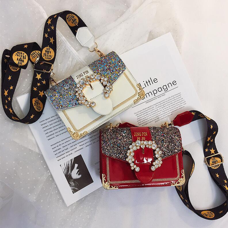 Factory Outlet Brand Women Handbag Fashion Foreign Style Diamond Chain bag Sweet Color Sequin Women Shoulder Bag Personality Diamond Lock Me