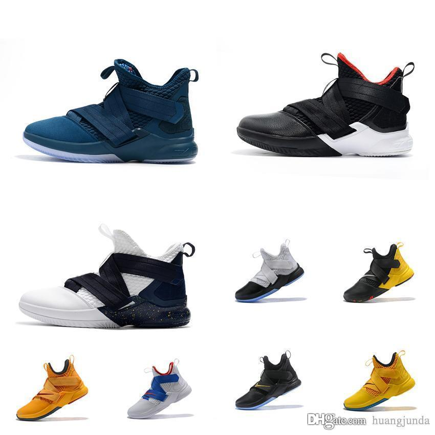 bf0154bc37be 2019 Cheap New Mens Lebron Soldier 12 Basketball Shoes For Sale High Top Soldiers  Xii Sneakers Trainers With Box From Huangjunda