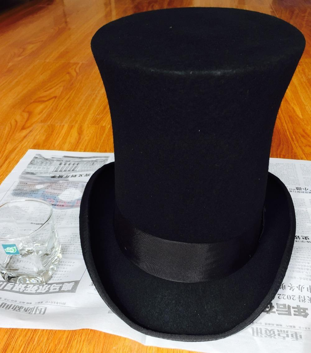 Compre 25 Cm 9 Pulgadas Extra Alto Sombrero Superior Steampunk Sombrerero  Enojado Victoriano Vintage Tradicional Lana Fedora Millinery Mago Topper  D19011102 ... d1c2be64884