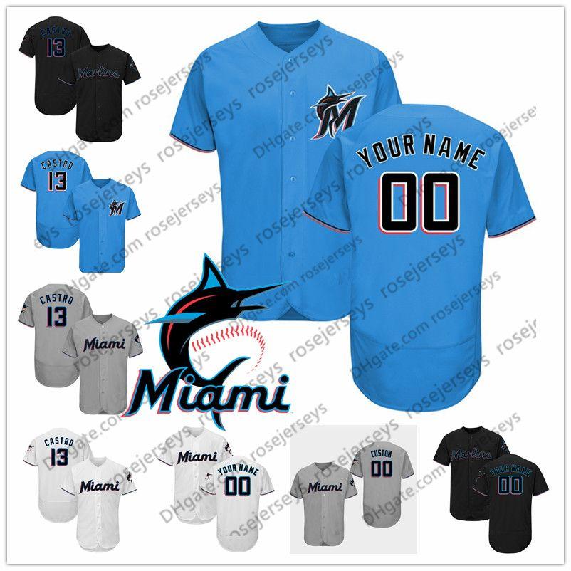 more photos bd3cd 7d9f9 Custom Marlins Jerseys 2019 Miami #13 Starlin Castro 14 Martin Prado 18  Neil Walker 24 Pedro Alvarez 54 Sergio Romo Black White Blue