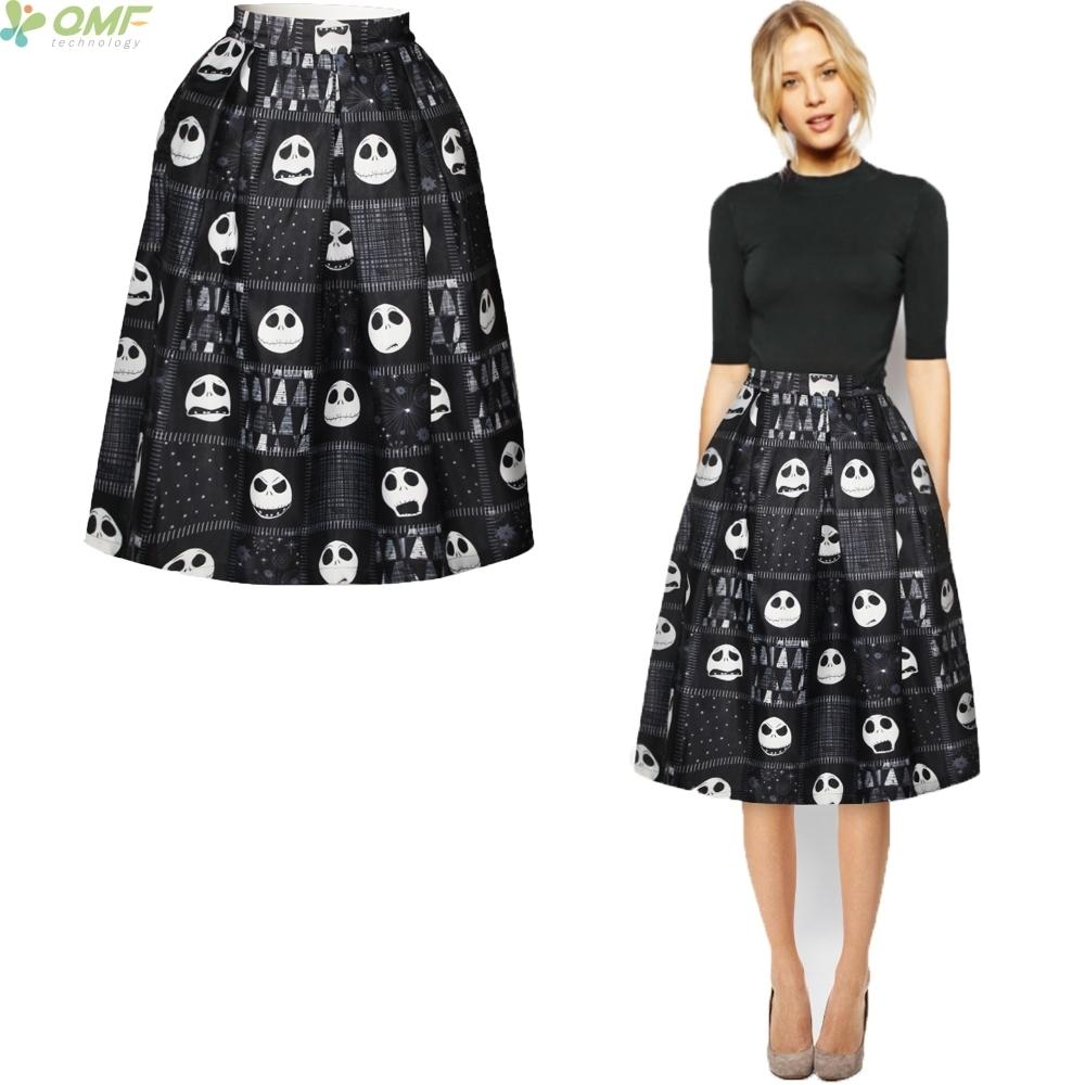 873415ac65 2019 Jack Skellington Flared Midi Skirt Novelty Female High Waist Skirts  Cosplay Nightmare Party Halloween Skull Skirt Knee Length Y190428 From  Tao01, ...