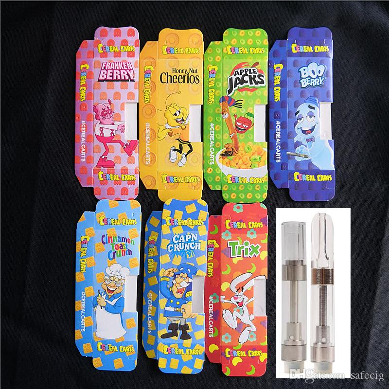 Black Package Dank Vapes Cereal Carts Screw Press G5 Vape Cartridges 1 0ml  1 Gram M6T TH205 Thick Oil Vape Pen Vaporizer Atomizers