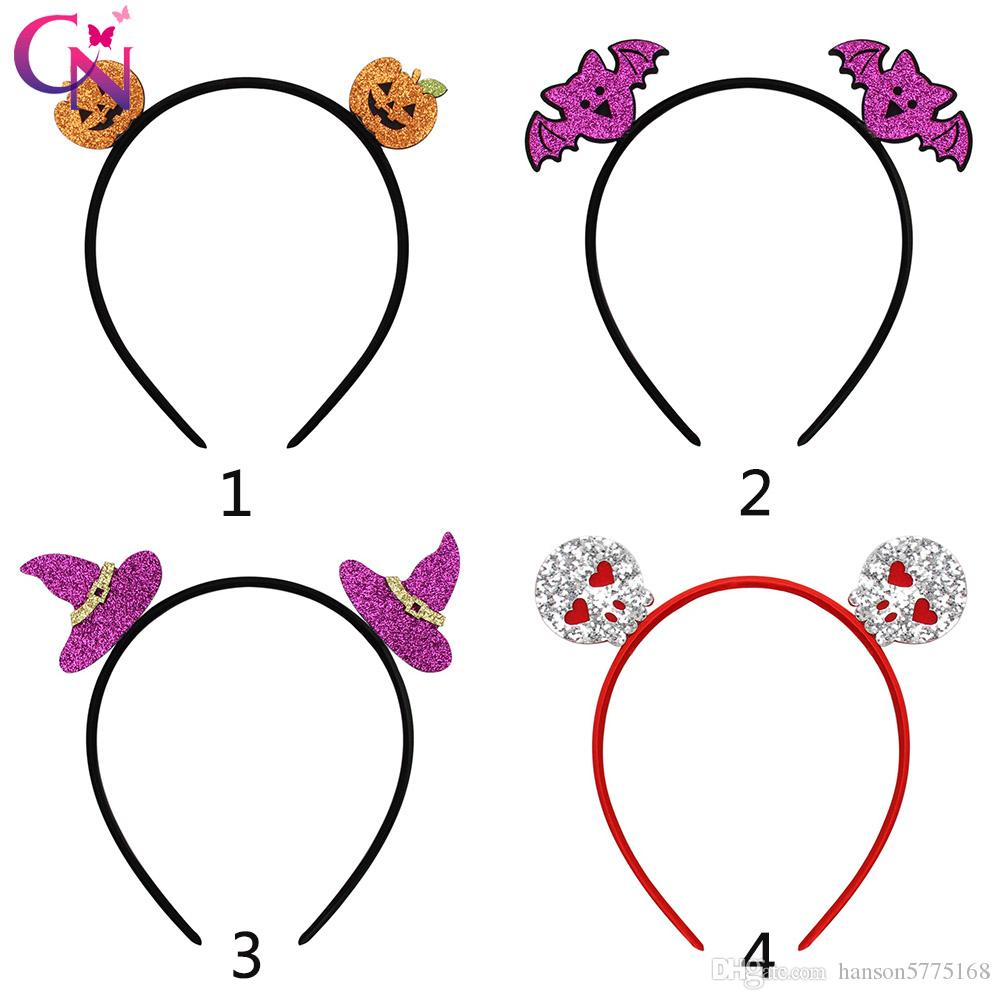 CN Cute Pumpkin Headbands for Baby Gilrs Handmade Glitter Cartoon Hairband Children Hair Hoop Halloween Party Hair Accessories