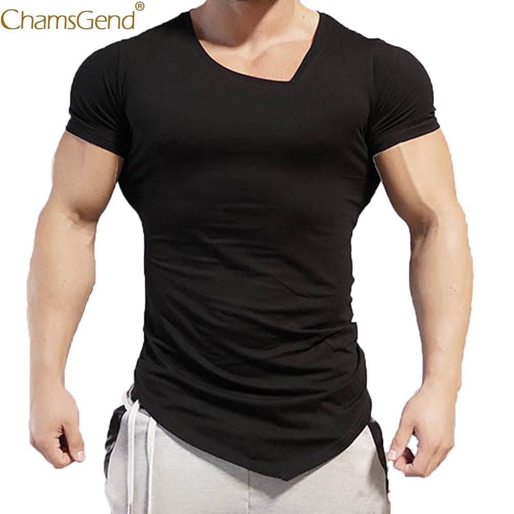 Slim De 2019 Corta Irregular Escote Casual Cobertura Hombre Camiseta Blusa En Poliéster Para Fit Algodón V Manga 7byfgY6